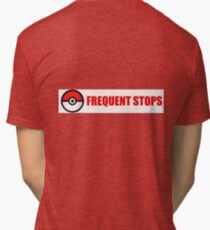 Pokemon Go - Frequent Stops - Recommended Size for Car is Large Tri-blend T-Shirt