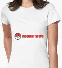 Pokemon Go - Frequent Stops - Recommended Size for Car is Large Women's Fitted T-Shirt