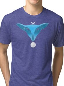 Blue fox mask with moons Tri-blend T-Shirt