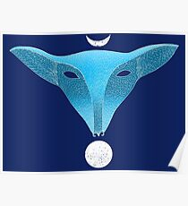 Blue fox mask with moons Poster