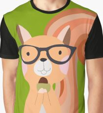 Funny Cartoon Animals Squirrel With Acorn Graphic T-Shirt