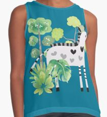 Animals Cartoon Zebra in Jungle Contrast Tank