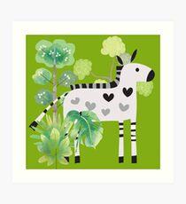 Animals Cartoon Zebra in Jungle Art Print