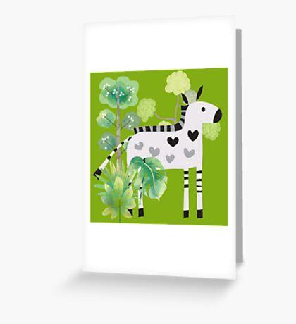 Animals Cartoon Zebra in Jungle Greeting Card