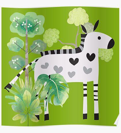 Animals Cartoon Zebra in Jungle Poster