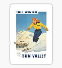 This Winter Sun Valley Idaho Vintage Travel Poster Sticker