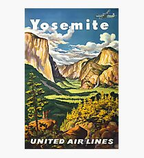 Yosemite United Air Lines Vintage Travel Poster Photographic Print