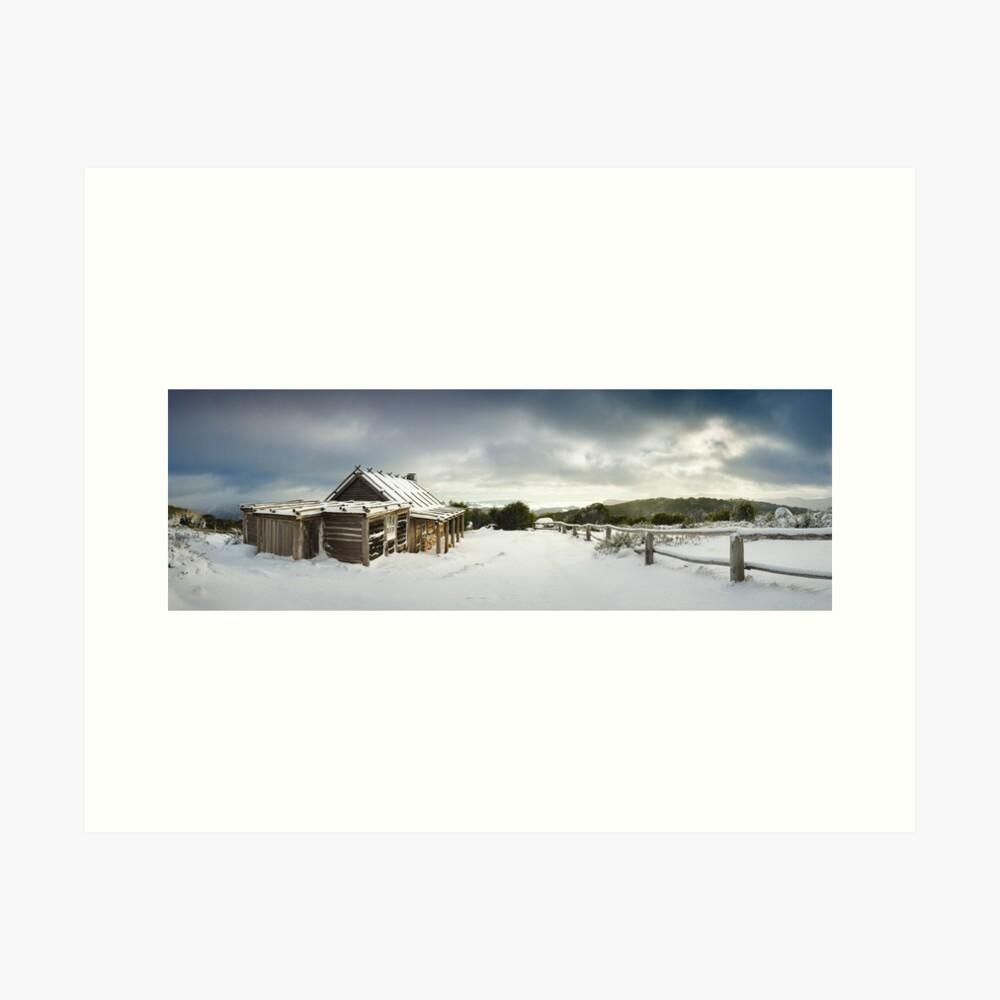 Craigs Hut Winter Morning, Mt Stirling, Victoria, Australia Art Print