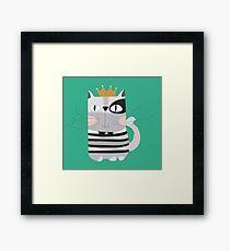 Cartoon Animals Pets King Cat Framed Print