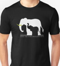 Save the African Elephants (Black Background) Unisex T-Shirt