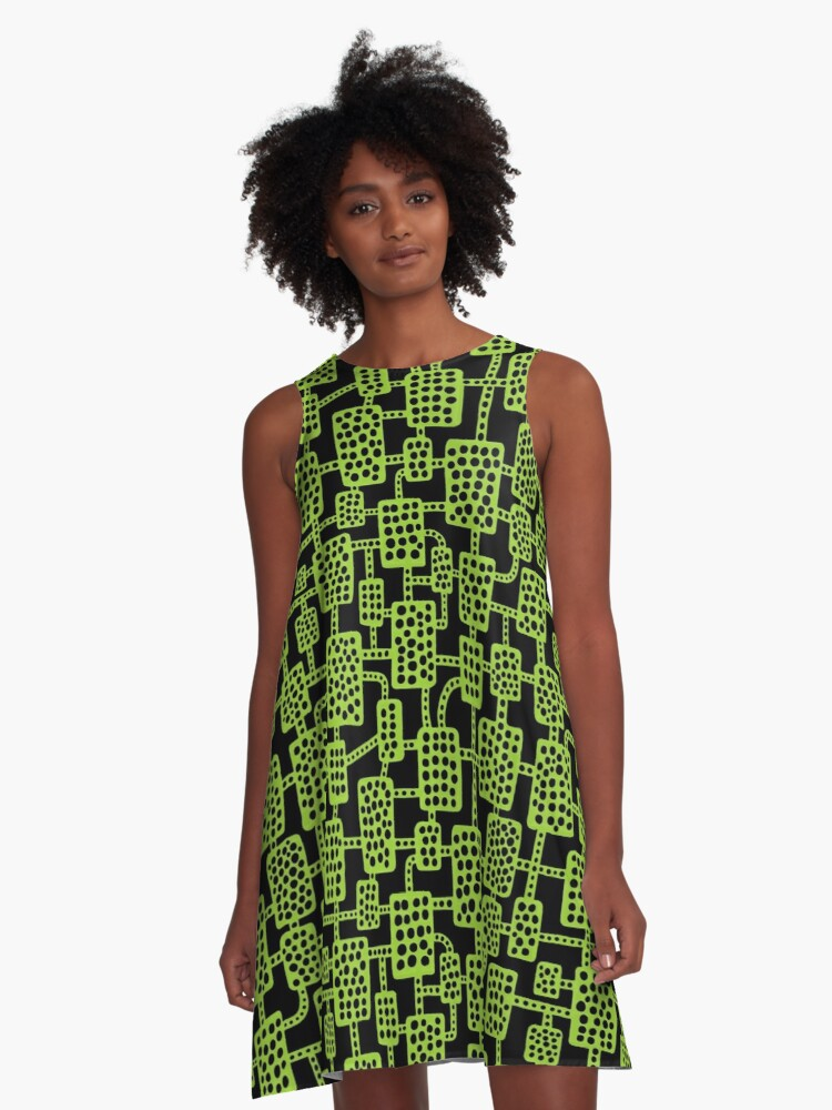 Abstract pattern 041113 - Martian Green on Black A-Line Dress Front