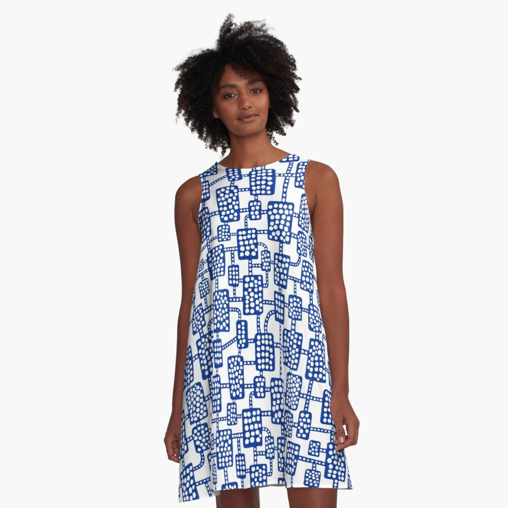 Abstract pattern 041113 - Navy Blue on White A-Line Dress Front