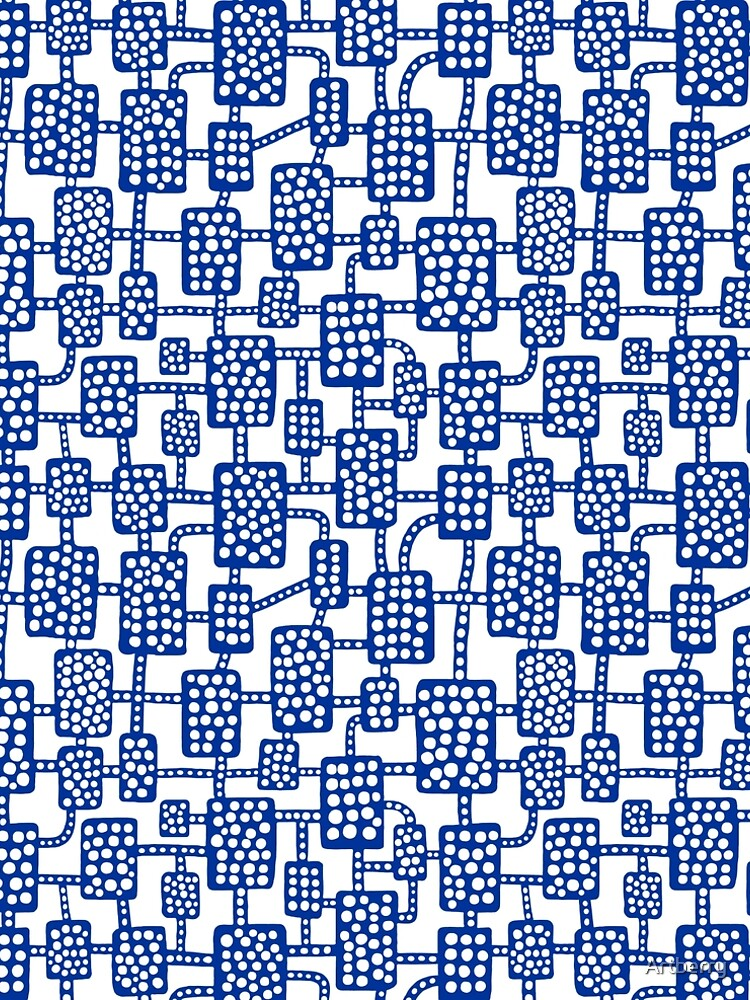 Abstract pattern 041113 - Navy Blue on White by Artberry