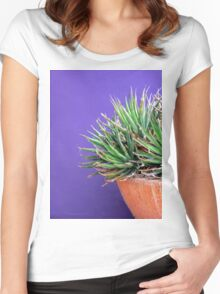 Contrast & Texture Women's Fitted Scoop T-Shirt
