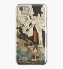 Utagawa Kuniyoshi - Mitsukuni And The Skeleton Spectermid 1840. Man portrait:  mask,  face,  man ,  samurai ,  hero,  costume,  kimono,  tattoos ,  sport, skeleton, macho iPhone Case/Skin