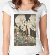 Utagawa Kuniyoshi - Mitsukuni And The Skeleton Spectermid 1840. Man portrait:  mask,  face,  man ,  samurai ,  hero,  costume,  kimono,  tattoos ,  sport, skeleton, macho Women's Fitted Scoop T-Shirt
