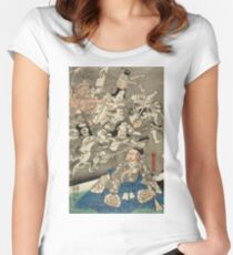 Utagawa Kuniyoshi - Warrior Minamoto Raiko And The Earth Spider. People portrait: party, woman and man, people, family, female and male, peasants, crowd, romance, women and men, city,  society Women's Fitted Scoop T-Shirt