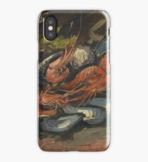 Vincent Van Gogh - Prawns And Mussels. Still life with prawns and mussels: prawns , mussels, grapes, tasty, gastronomy food, flowers, dish, cooking, kitchen, vase iPhone Case/Skin