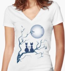 Halloween in love Women's Fitted V-Neck T-Shirt