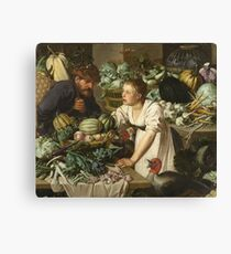 Pieter Cornelis  Van Rijck - Market stall with two figures. Still Life: Market, Woman, man, food,  vegetables, vegetable, fruits, cooking, kitchen,  feast Canvas Print