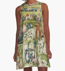 Hieronymus Bosch - The Garden Of Earthly Delights Art Fragment Painting: eden, hell, beauty, adam, retro animals, birds, cool love, trendy gift, celebration, vintage monster, doodle, birthday, fantasy A-Line Dress
