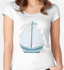 paper sailing boat, yacht Women's Fitted Scoop T-Shirt