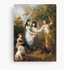 Thomas Gainsborough - The Marsham Children 1787. Children portrait: Children, cute girls, child, nature, beautiful dress, face with hairs, smile, little, kids, dogs, weekend Canvas Print
