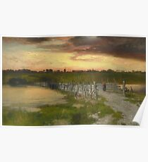 Thomas Moran - The Old Bridge Over Hook Pond, East Hampton, Long Island 1907. Country landscape: village view, country, buildings, house, rustic, farm, field, countryside road, trees, garden, flowers Poster