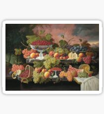 Severin Roesen - Two Tiered Still Life With Fruit And Sunset Landscape. Still life with fruits: strawberries , champagne,lemon, grapes , cherries, peaches, apples, pears, apricots, raspberries, vase Sticker