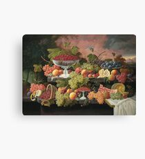 Severin Roesen - Two Tiered Still Life With Fruit And Sunset Landscape. Still life with fruits: strawberries , champagne,lemon, grapes , cherries, peaches, apples, pears, apricots, raspberries, vase Canvas Print