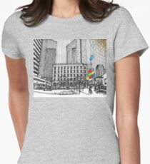 Sunny Day Cityscape Streetscape Women's Fitted T-Shirt