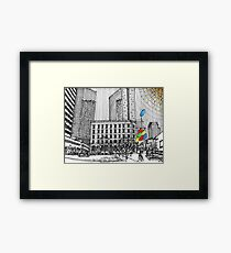 Sunny Day Cityscape Streetscape Framed Print