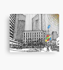 Sunny Day Cityscape Streetscape Metal Print