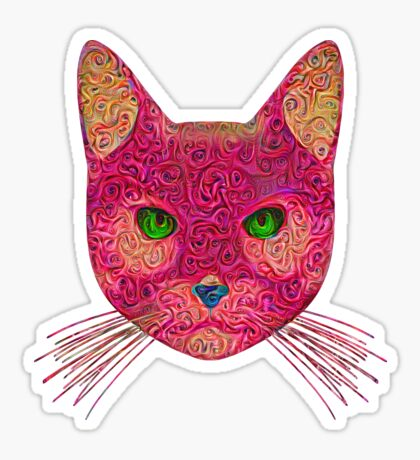 Rose Hungry Cat Glossy Sticker