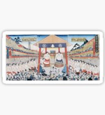 Utagawa Yoshifuji - The Ring Entering Ceremony At Subscription Sumo 1851. People portrait:  people,  sumo,  traditional,  wrestler,  wrestling,  fat,  overweight,  rice,  sport,  body,  society Sticker