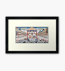 Utagawa Yoshifuji - The Ring Entering Ceremony At Subscription Sumo 1851. People portrait:  people,  sumo,  traditional,  wrestler,  wrestling,  fat,  overweight,  rice,  sport,  body,  society Framed Print