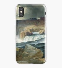 Thomas Moran - Shoshone Falls, Snake River, Idaho. Mountains landscape: mountains, rocks, rocky nature, sky and clouds, trees, peak, forest, rustic, hill, travel, hillside iPhone Case/Skin
