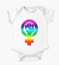 Rainbow Feminist Fist One Piece - Short Sleeve