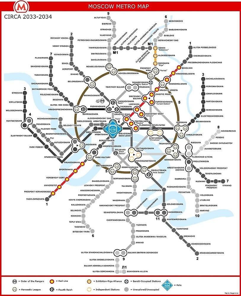 Metro 2033 Moskau Karte Von Rooser Redbubble