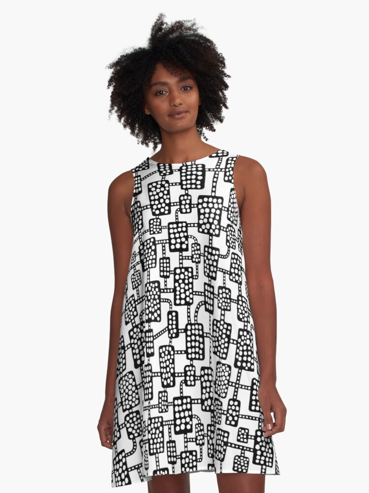 Abstract pattern 041113 - Black on White A-Line Dress Front
