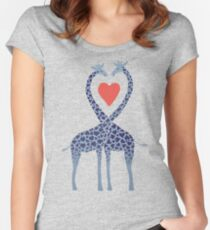 Giraffes in Love - A Valentine's Day Illustration Women's Fitted Scoop T-Shirt