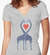 Giraffes in Love - A Valentine's Day Illustration Women's Fitted V-Neck T-Shirt