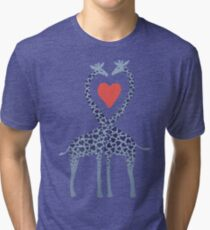 Giraffes in Love - A Valentine's Day Illustration Tri-blend T-Shirt