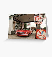 Gas Station Mustang Greeting Card