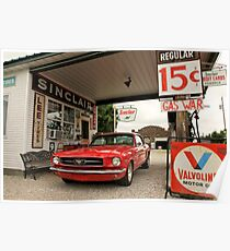 Gas Station Mustang Poster