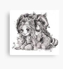 Chibi Clexa Onesies Racoon Lion Canvas Print