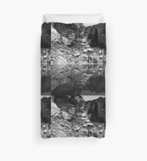 Canyon Wall Reflection at Lake Powell ~ Black & White Duvet Cover