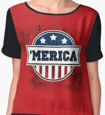 'MERICA T-Shirt. America. Jesus. Freedom. - The Campaign Women's Chiffon Top