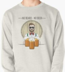 Hipster Beer Illustration with moto No beard no beer Pullover
