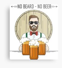 Hipster Beer Illustration with moto No beard no beer Metal Print
